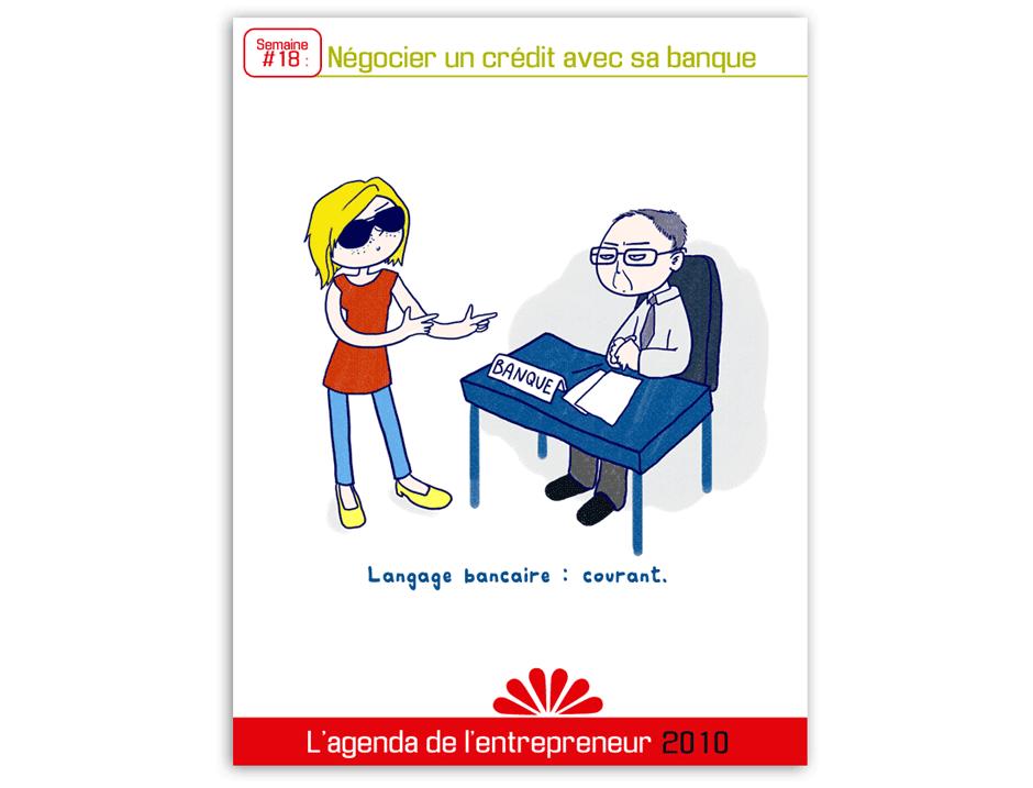 parler à son banquier, illustration graphiste paris humour dessin au trait avec quelques couleurs