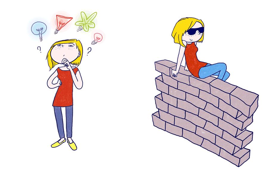 personnage avec lunette de soleil graphiste illustratrice freelance paris