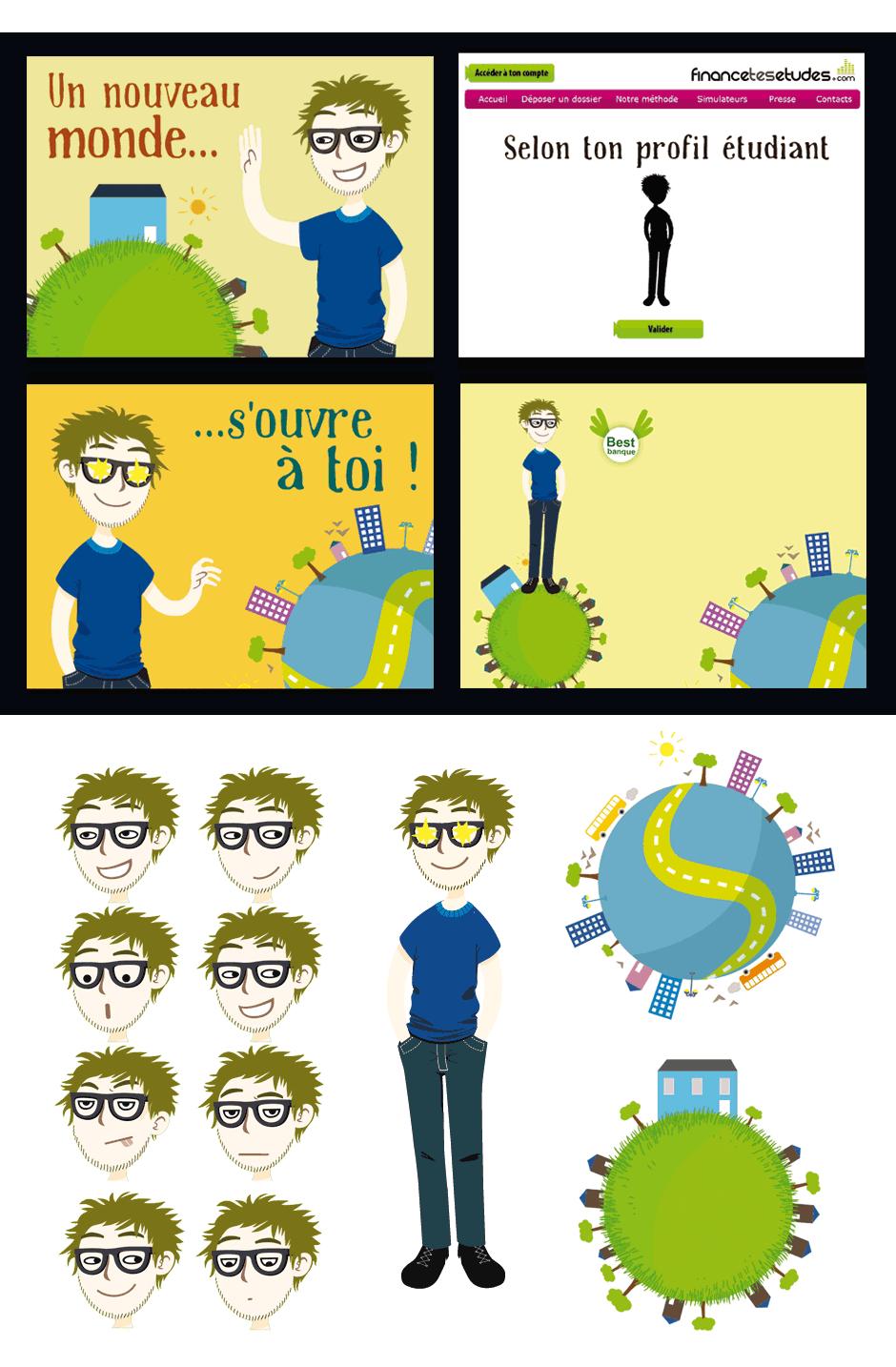 dessin humour visage expressif vidéo pédagogique vectoriel