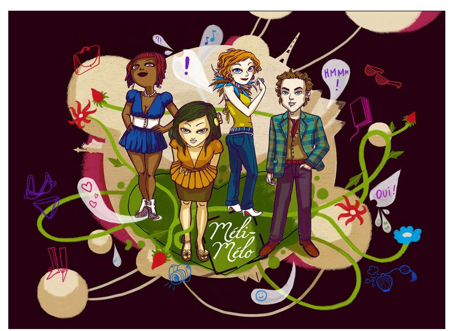 création de personnages glamour, illustration pour agence de relooking