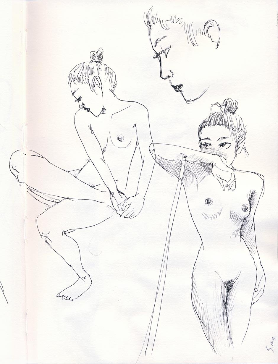 dessin de nu stylot noir