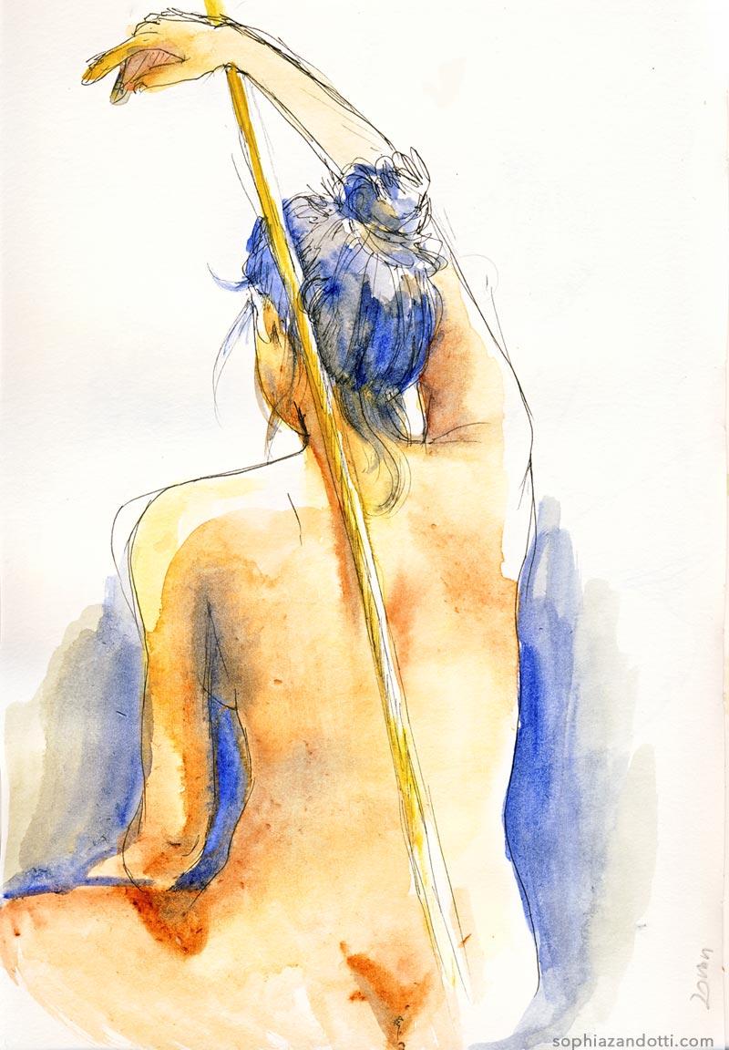 femme de dos aquarelle