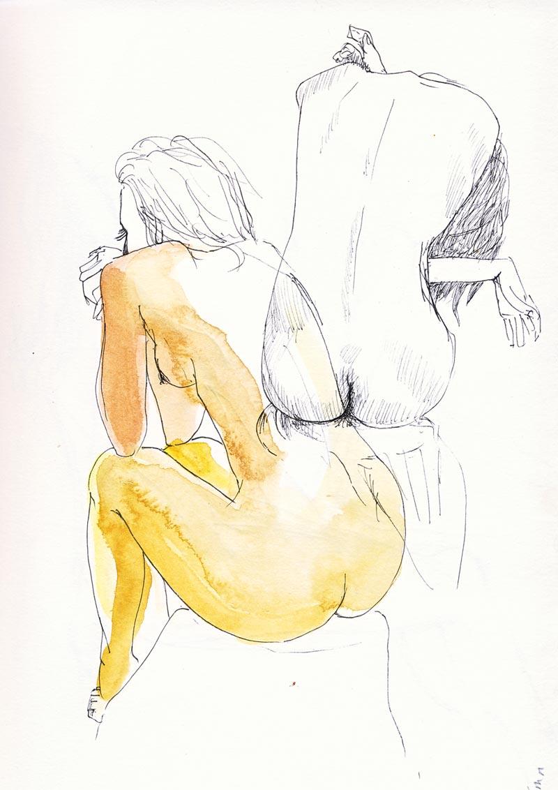 dessin de nu stylot noir et aquarelle