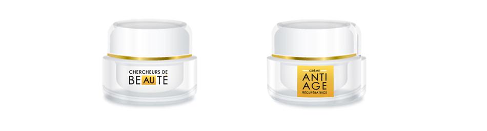 flacon logo produit de beauté crème anti age
