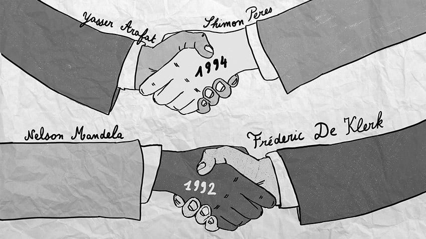 personnages qui se serrent la main, dessin, papier, forum économique mondial davos 2015