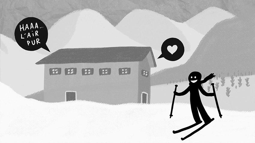 dessin ski, personnage qui fait du ski, davos, illustration freelance paris, vidéo illustrée