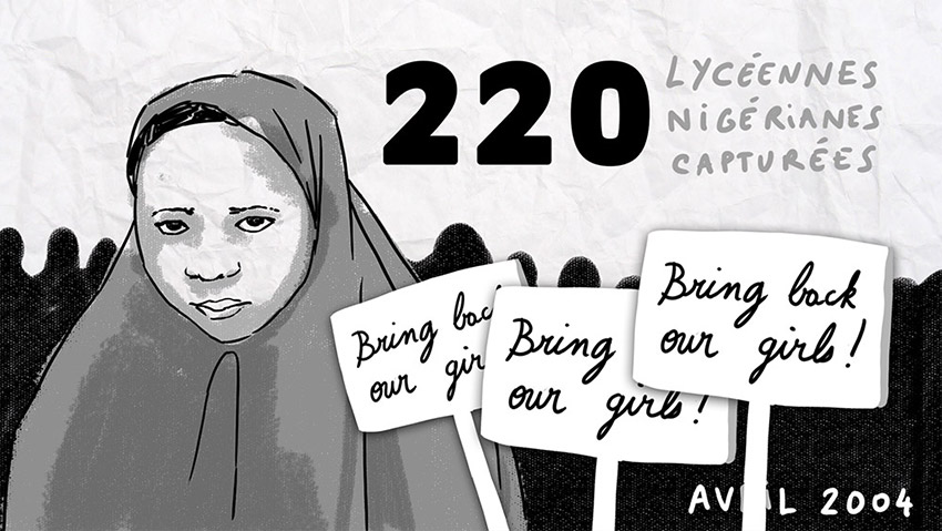 bring back our girls, dessin, vidéo dessinée, vidéo pédagogique, illustration animée, illustrateur paris, graphisme motion design, freelance, noir et blanc