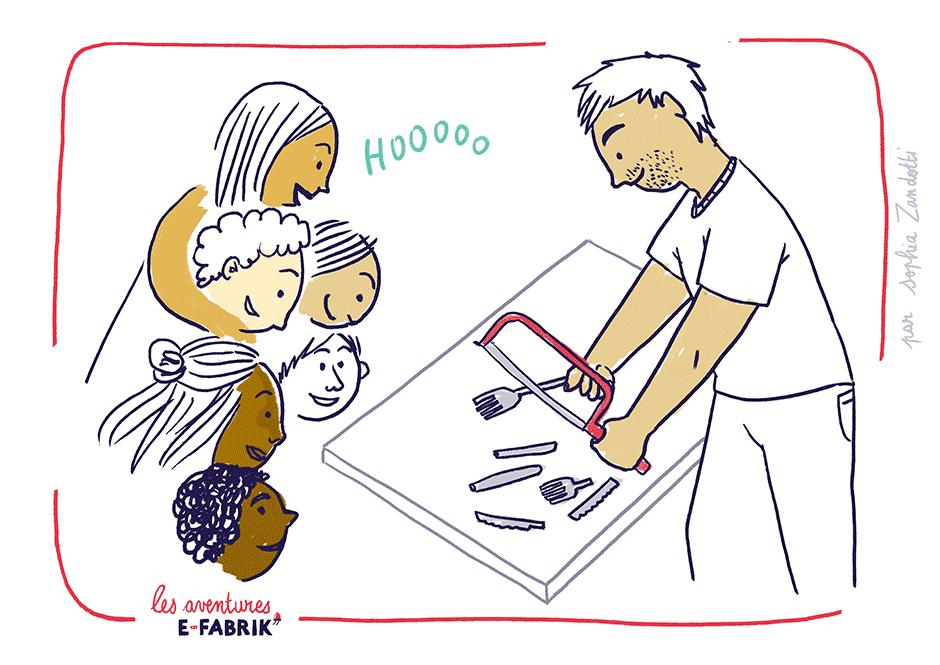 efabrik, decoupe couverts, handicap, scie à metaux, reportage dessiné