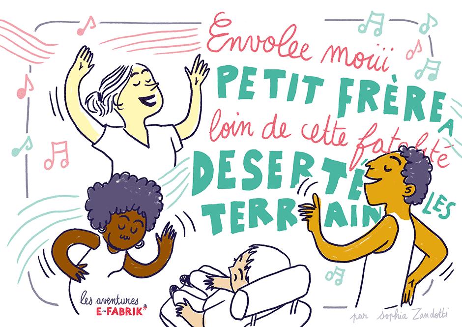 fête, danse, handicap, dessin, efabrik, reportage dessiné