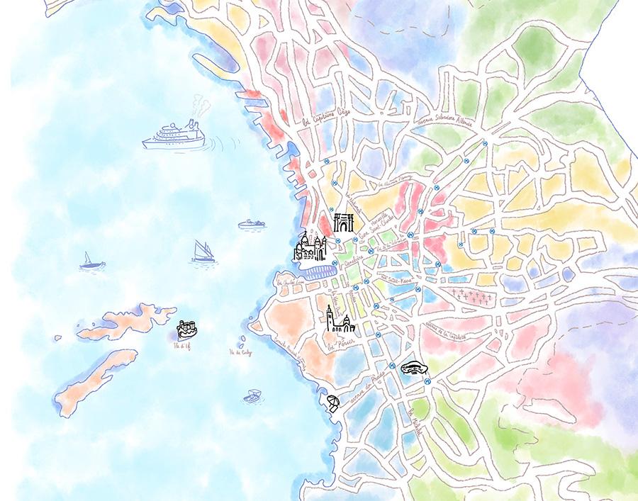 carte Marseille aquarelle dessin freelance graphiste illustrateur