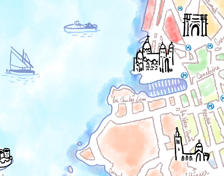 carte marseille freelance illustrateur dessin couleurs monuments